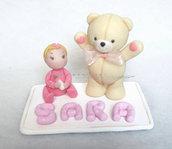 Cake topper con bimba orsetto e nome rosa bimba bambina nascita battesimo