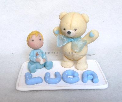 Cake topper con bimbo orsetto e nome azzurrro bambino nascita battesimo