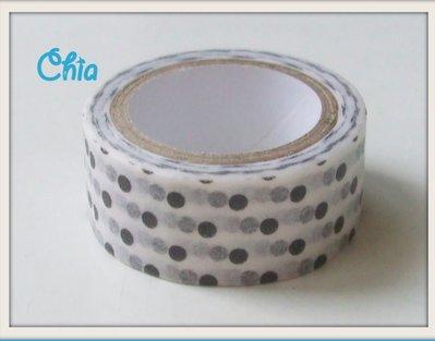 Offerta 1 washi tape a pois neri 5 metri