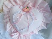 cuscino cuore rosa in tessuti coordinati