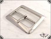 Fibbia doppia in metallo, colore argento, larghezza interna mm. 40