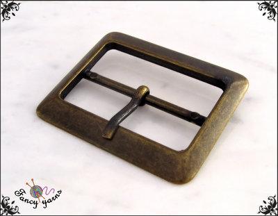 Fibbia doppia in metallo, colore bronzo, larghezza interna mm. 40