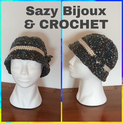 Cappello FLOWER CLOCHE ad uncinetto- Crochet Hat - Multicolore