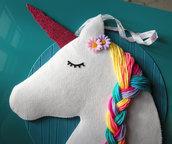 unicorno arcobaleno - arredo cameretta - porta mollette dei capelli - rainbow unicorn - bedroom furniture - hair clip holder