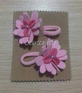 Elastici per capelli con fiore rosa e fucsia