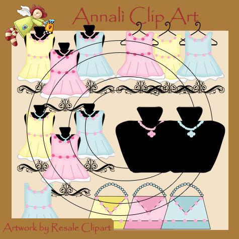 Boutique - Vestiti Bimba - Borsette - Espositore gioielli - Clip Art per Scrapbooking e Decoupage - Immagini