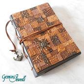 Notebook in pelle con cover in fimo a mosaico, fatto a mano
