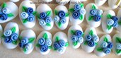 Confetti decorati con 3 roselline tonalità azzurro