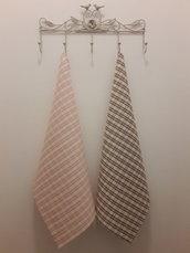 Coppia di asciughini a quadri scozzesi rosa e nocciola
