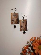 """Orecchini di carta pendenti """"Le lacrime di Freya"""" Gustav Klimt"""