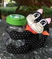 Barattolo portapenne con gatto di feltro nero a pois