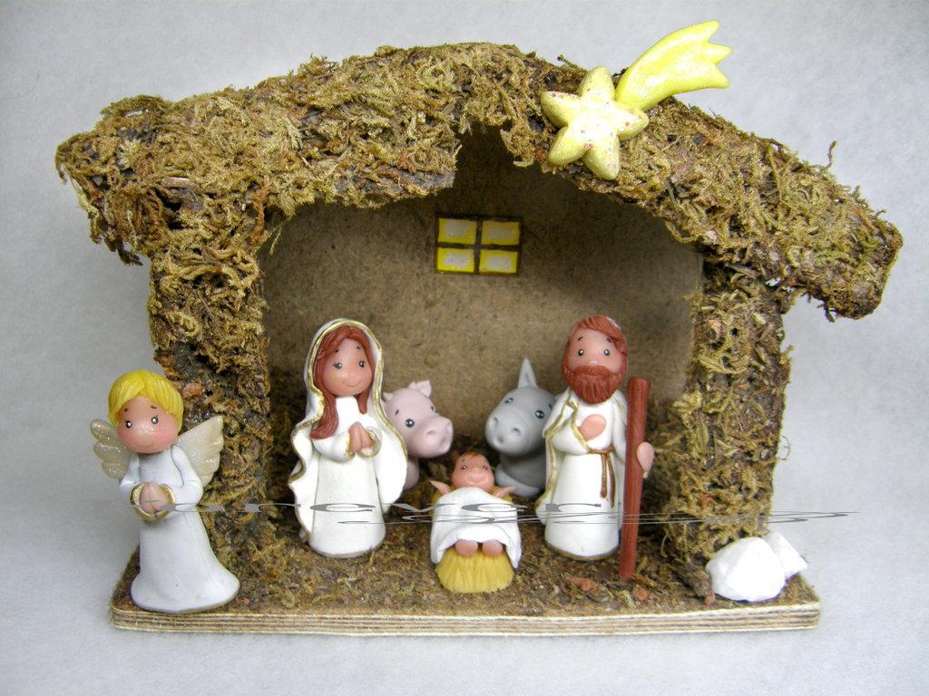 Presepe con capanna pasta di mais idea regalo natale for Oggetti regalo