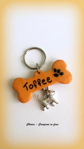 Medaglietta per cani fatta a mano in fimo, medaglietta identificativa personalizzata, regalo cane