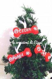 Decorazione natalizia osso del cane personalizzato con nome fatto a mano in pannolenci.