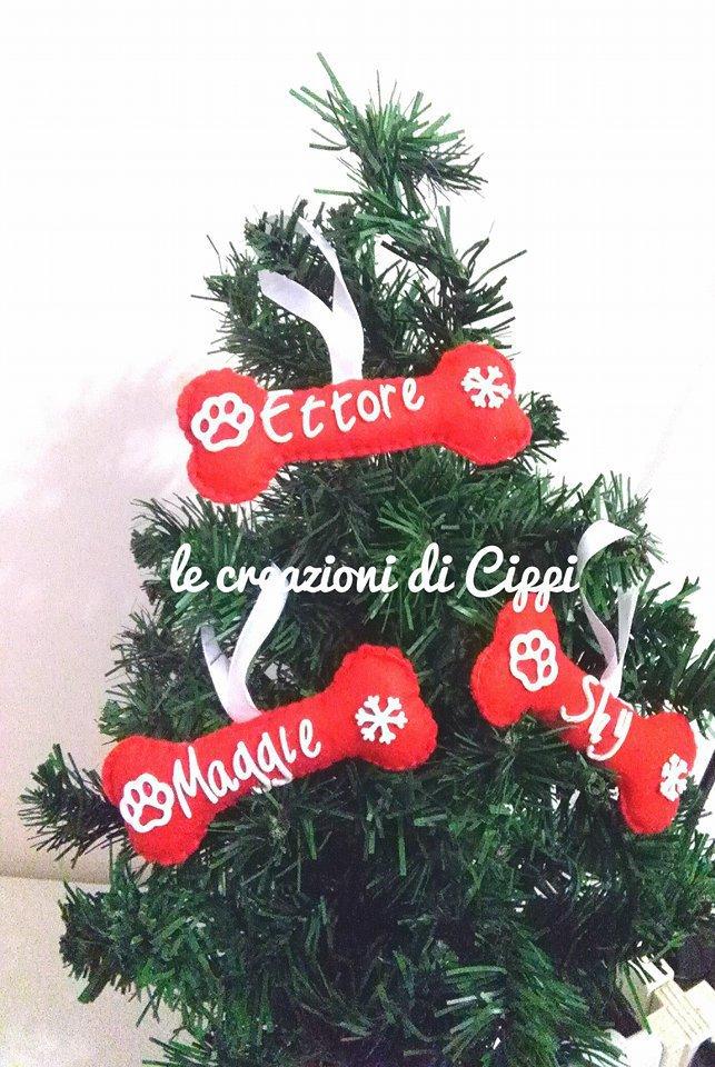 Foto Di Natale Con Cani.Decorazione Albero Di Natale Osso Del Cane Personalizzato Con Nome Fatto A Mano In Pannolenci