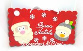Targa fuoriporta buon natale in feltro e pannolenci con babbo natale e pupazzo di neve