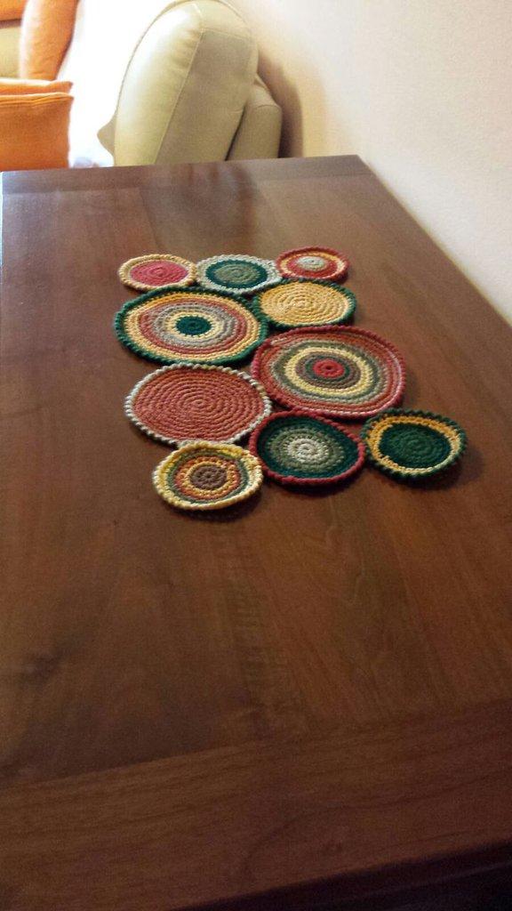 Centrotavola uncinetto moderno cerchi tondi tondi centro tavola autunno inverno regalo