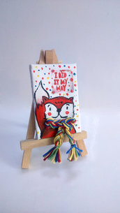 Mini quadretto tela con volpe e sciarpa 3D e scritta hand made e pois