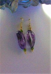 Orecchini pendenti con Ametista e Prasiolite, fatti a mano - Crystal Violet
