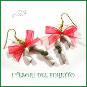 """Orecchini Natale """" Bastoncini di zucchero  """" idea regalo fimo bambina ragazza donna bijoux natalizi"""