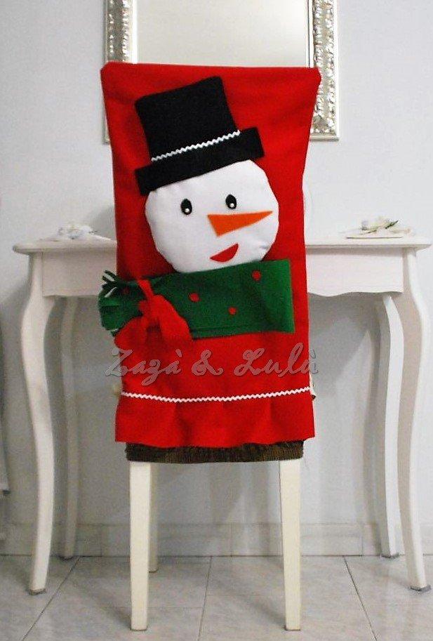 Coprisedia natalizio decorazioni copri sedie pupazzo di for Sedie decorate per natale