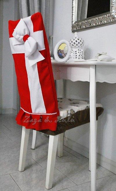 Coprisedia natalizio decorazioni copri sedie fiocco natale for Sedie decorate per natale