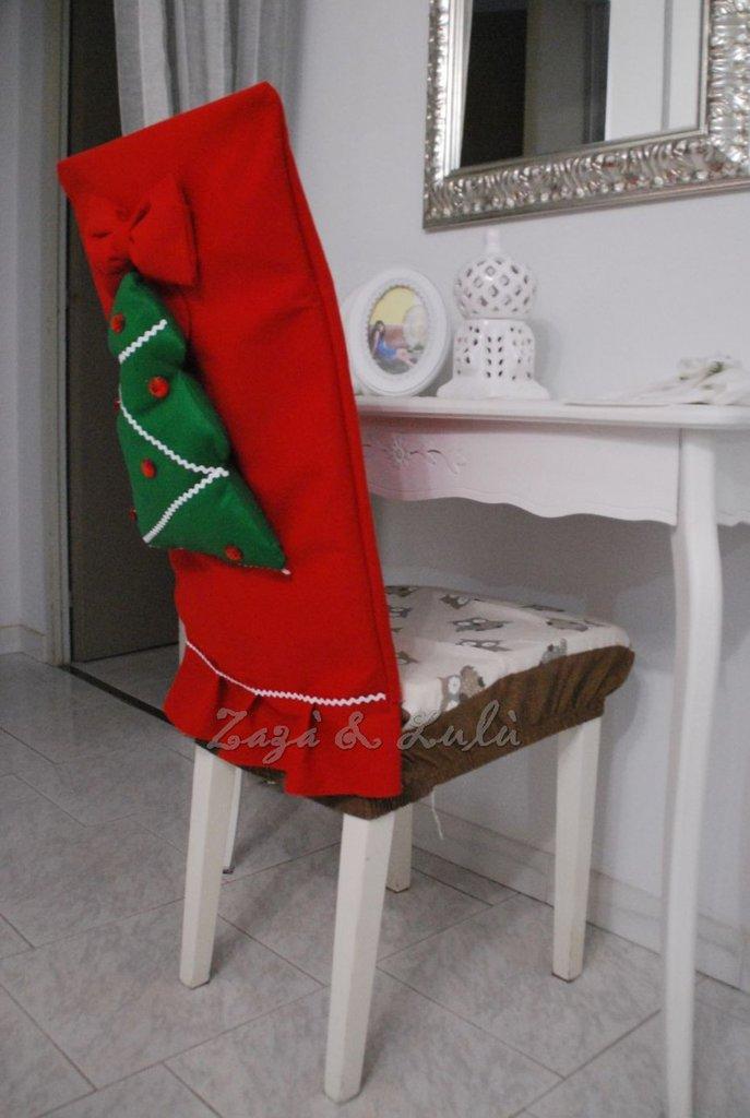 Coprisedia natalizio decorazioni copri sedie albero di for Sedie decorate per natale