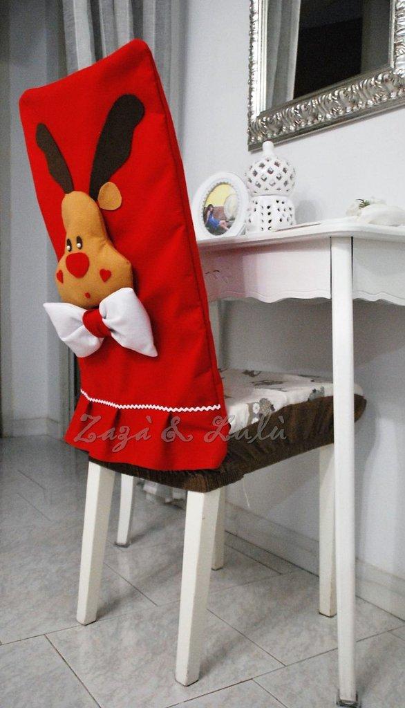 Coprisedia natalizio decorazioni copri sedie renne di for Sedie decorate per natale