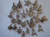 24 Ciondoli di Natale di 12 modelli diversi in Metallo color argento