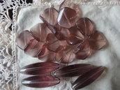 18 Perle di vetro color prugna chiaro 4 ovali 40x12 mm. e 14 di 19 mm