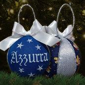 Pallina patchwork decorativa decorazione natalizia Natale ricamo nome personalizzato blu e argento idea regalo