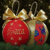 Pallina patchwork decorativa decorazione natalizia Natale ricamo nome personalizzato rosso e oro dorato idea regalo
