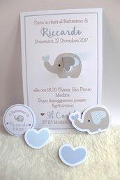 inviti con elefantino con orecchia 3D bimbo celeste