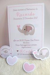 inviti con elefantino con orecchia 3D bimba rosa