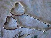 5 Supporti Cuore per portachiavi per perle PD 8,7 cm
