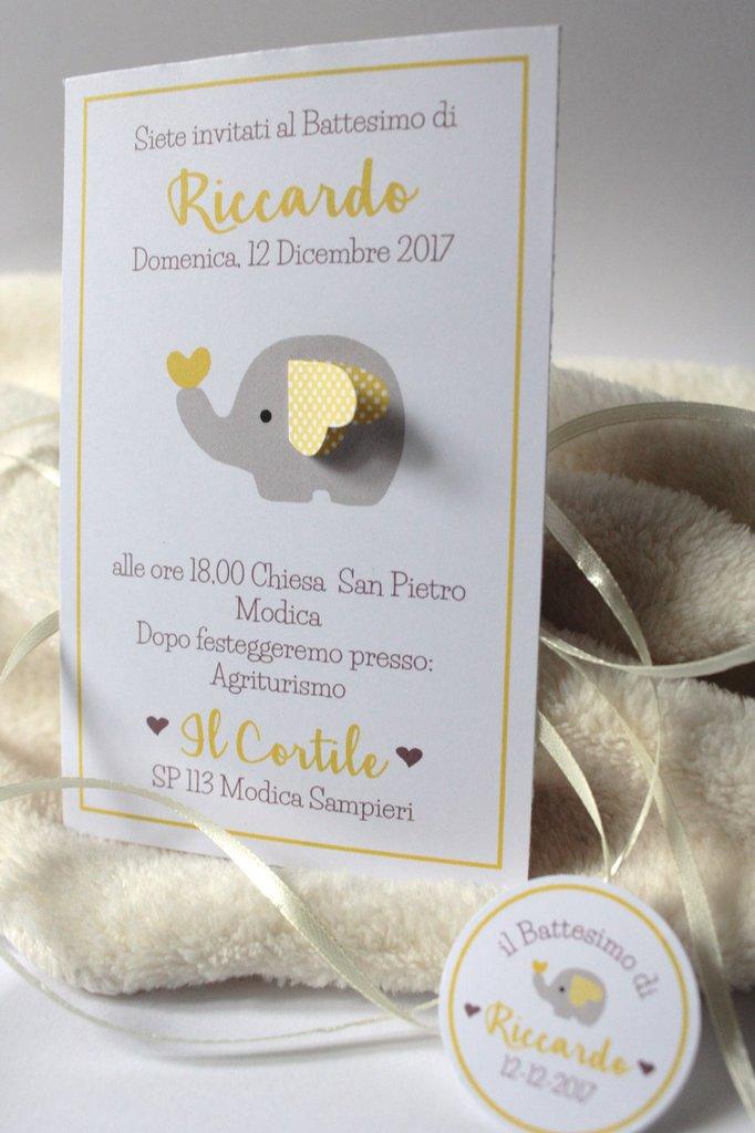 inviti con elefantino con orecchia 3D bimbi giallo