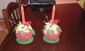 composizione natalizia con candela