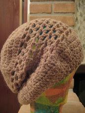 Cappello uncinetto lana alpaca rosa
