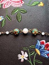 Bracciale bronzo con fiori in fimo e perle