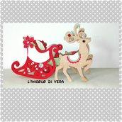 Slitta con renne in feltro porta cioccolattino o centrotavola