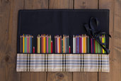 Astuccio rotolo per 50-60 matite da disegno, pennelli, attrezzi vari