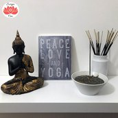 "Targhetta in legno ""Peace, Love and Yoga"""