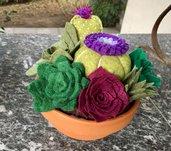 ciotola di terracotta con cactus e succulents di feltro