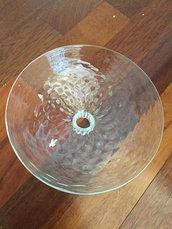 Tazza, ricambio per lampadari di Venini e non, con pezzi rotti, in vetro soffiato di Murano, color trasparente