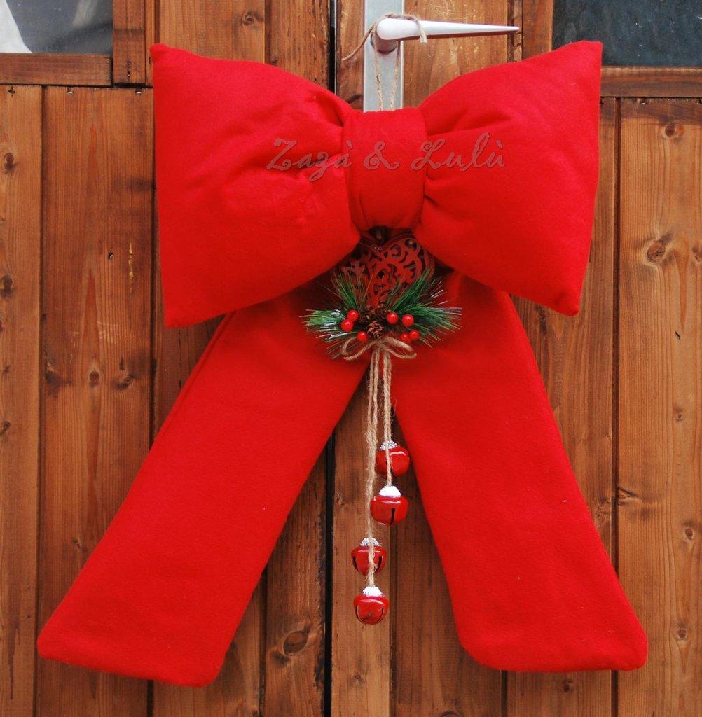 Fiocco natalizio fuoriporta addobbi decoro natale fuori porta ghirl su misshobby - Ghirlanda porta natale ...