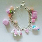 Bracciale con  unicorno rosa kawaii