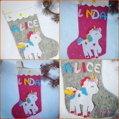 Calza befana con unicorno personalizzata con nome da appendere