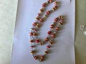 Collana di carta  rosso e avorio