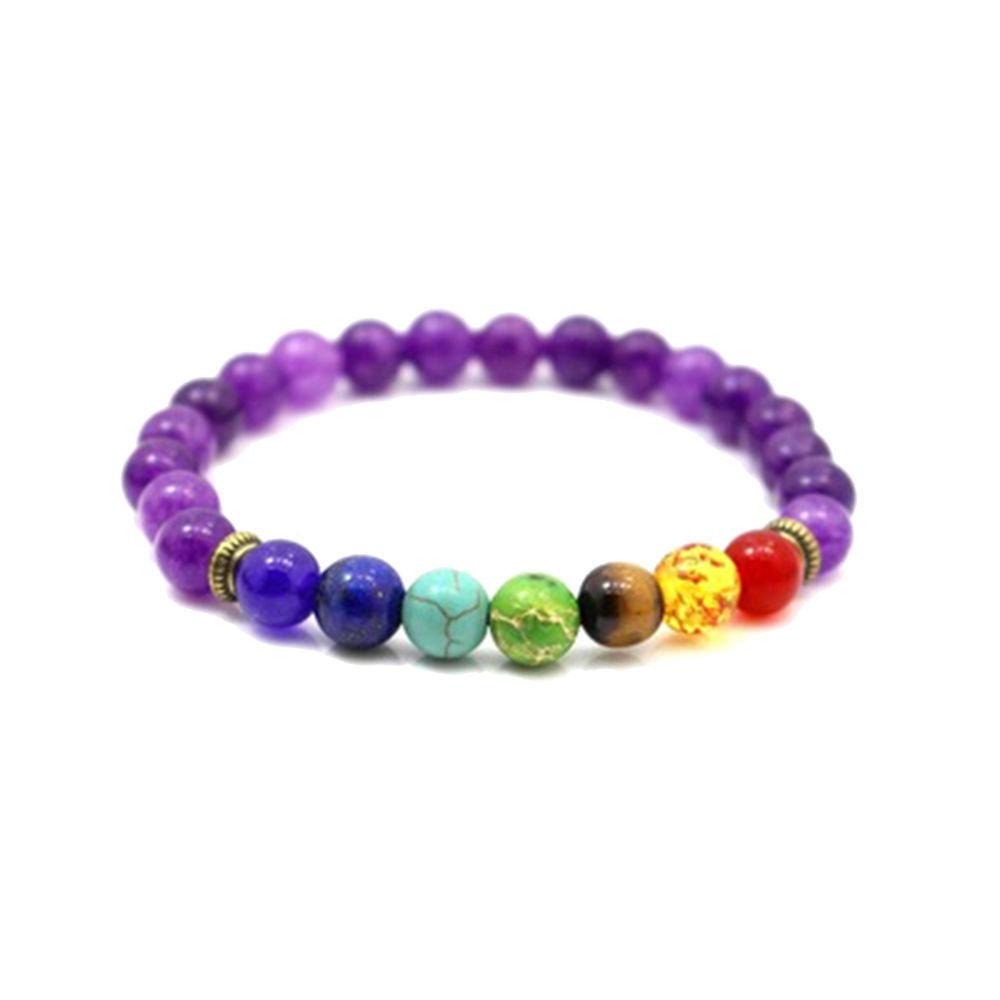 Bracciale unisex con vera ametista naturale e vere pietre dure dai colori dei 7 chakra 8 mm cristalloterapia