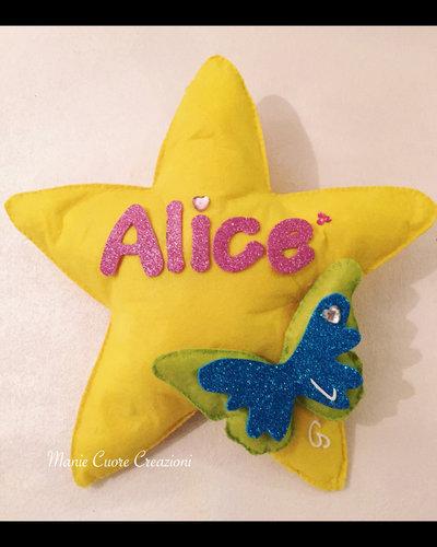 Fiocco nascita stella - farfallina glitter e nome